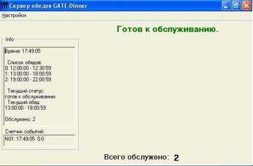 Специальное серверное ПО для АРМ Gate-Dinner (комплект) 2